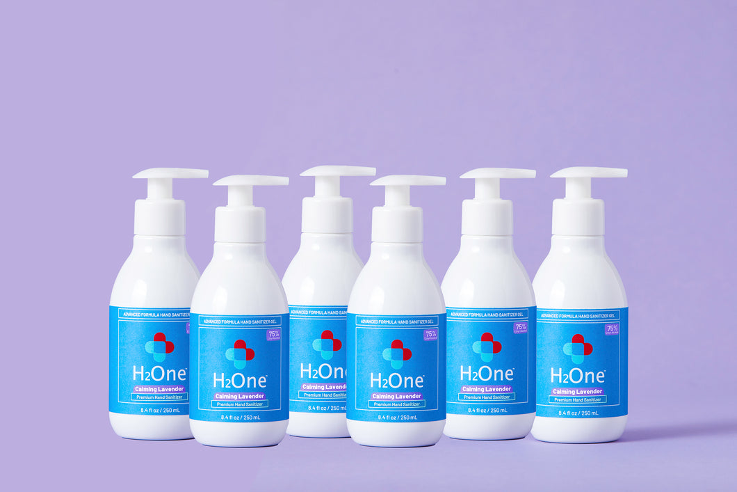 H2One Calming Lavender Hand Sanitizer Gel | 250 ML | 6 Pack | 75 Percent Ethyl Alcohol (Ethanol) | Made in USA