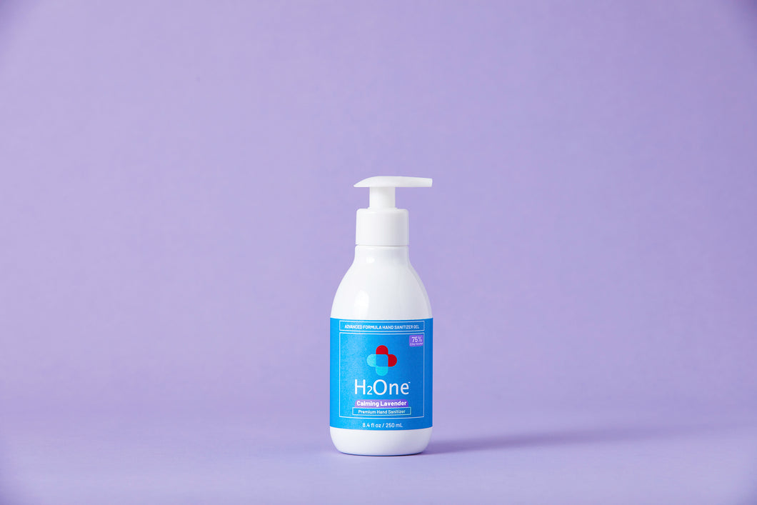 H2One Calming Lavender Hand Sanitizer Gel | 250 ML 75 Percent Ethyl Alcohol (Ethanol) | Made in USA