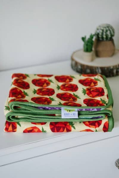 Veggie Might Cuddle Blanket~8 Layers of 100% Cotton Muslin