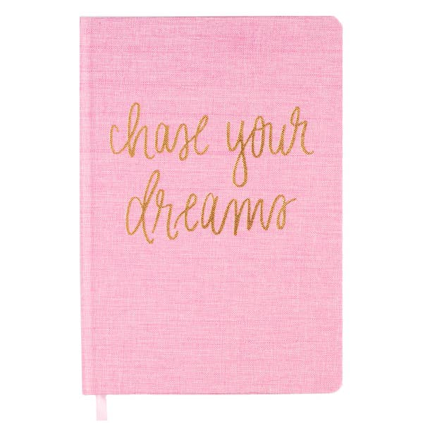 'Chase Your Dreams'~ Inspirational Pink and Gold Fabric Journal