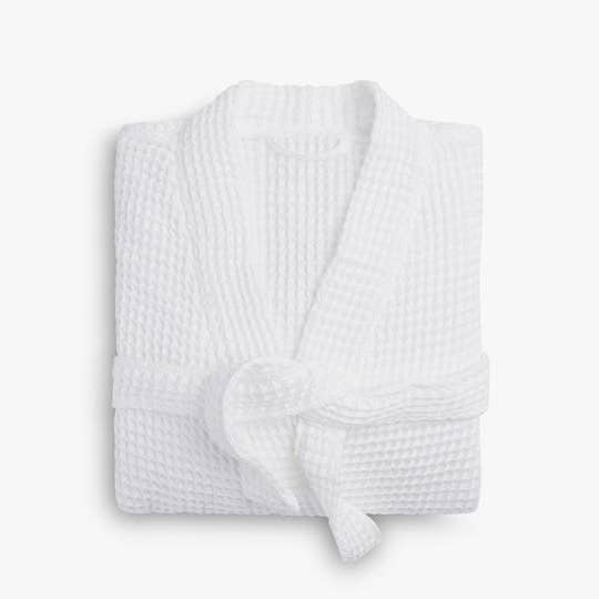 Waffle Knit Robe - White - Small/Medium