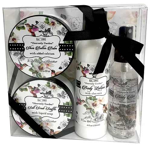 4 Piece Heavenly Garden Gift Set - Body Lotion, Body Mist, Salt Scrub, Shea Butter Balm
