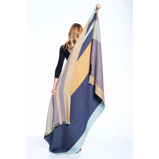 Alpaca Reversible Throw - Indigo Gold