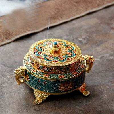 Tibetan Style Incense Burner 4 Inch Painted Enamel - Blue