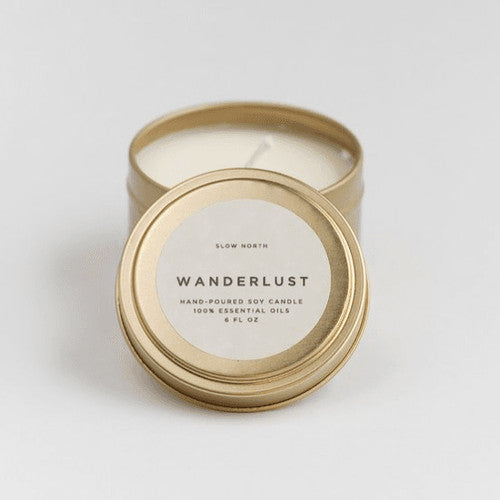 Wanderlust Travel Tin Candle