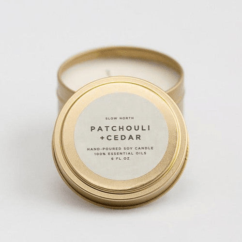 Patchouli & Cedar ~Travel Tin Soy Candle