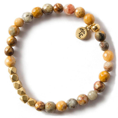 'Choose Joy' Mexican Agate Gemstone Bracelet, 6mm~Handcrafted in Tennessee