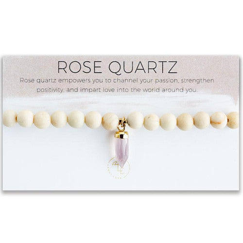 Know You Are Loved. Stretch Bracelet, Rose Quartz