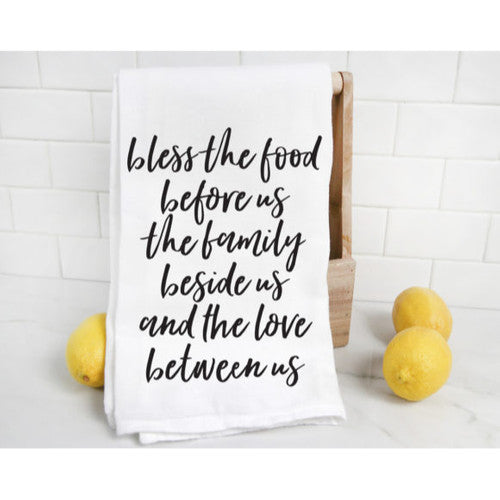 'Bless The Food Before Us' ~Oversized Flour Sack Tea Towel