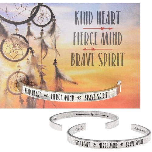 Kind Heart/Fierce Mind/Brave Spirit Quotable Cuff