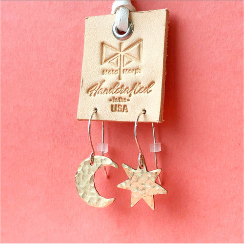 Solid Bronze Sun & Moon Earrings