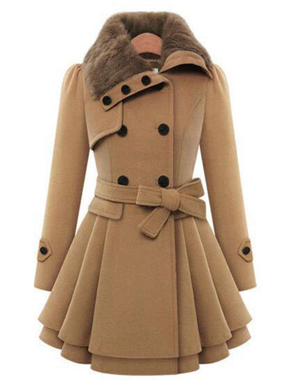 Women Double-Breasted Winter Overcoat - overstocktarget