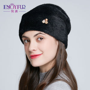 Winter Women High Quality  Rhinestone Wool Hats - overstocktarget