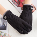 Winter Female Warm Lace Cashmere Touch Screen Driving Gloves - overstocktarget