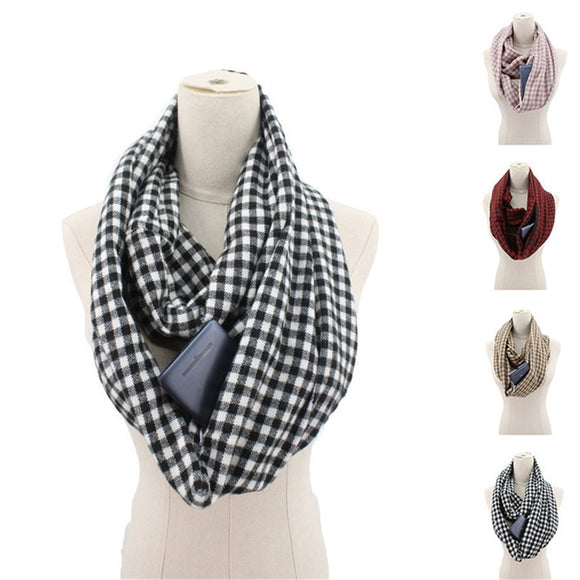 Women Plaid Winter Zipper Pocket knitted Convertible Scarf - overstocktarget