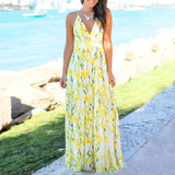 Women's Sexy Summer V-Neck Floral Backless Beach Dress - overstocktarget