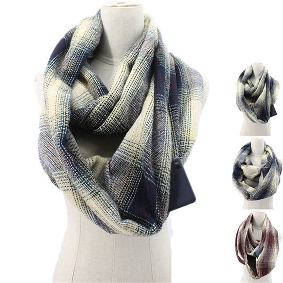 Women Winter Zipper Pocket knitted Convertible Scarf - overstocktarget