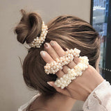 Woman Elegant Pearl Hair Scrunchies - overstocktarget