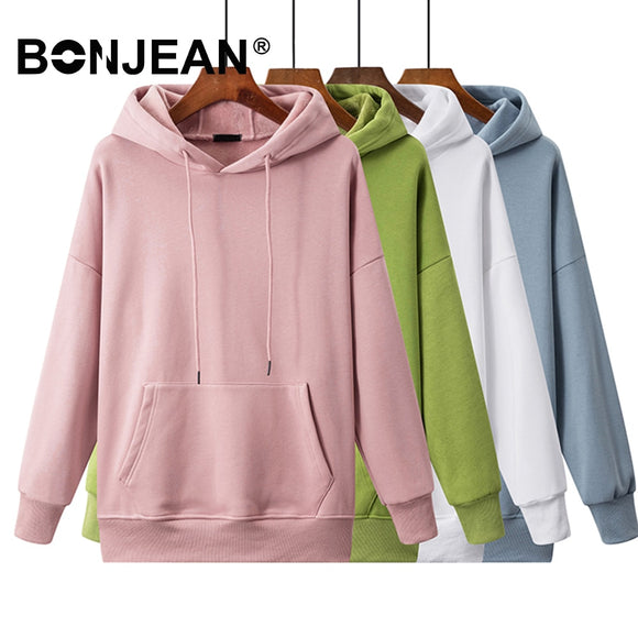Basics Sweatshirt Women White Hoodie Ladies Pink Hoodie Blue Green Yellow Red Black Casual Korean Woman Clothes Z332 - overstocktarget