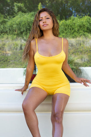 Barely There Cotton Romper - Yellow
