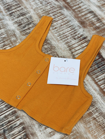 Ribbed Bra Top with Buttons - Mustard