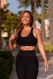 Ribbed Cut-Out Back Seamless Sports Bra
