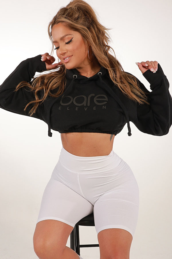 Bare Eleven Cropped Hoodie- Black on Black