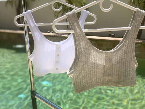 Ribbed Bra Top - White