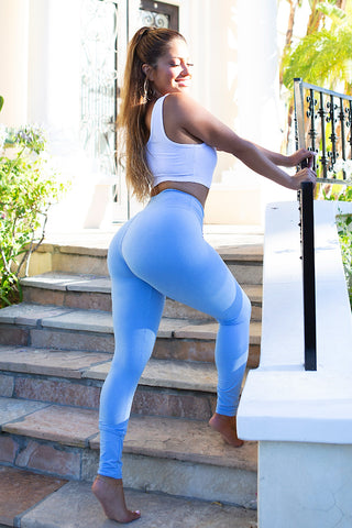 Solid Breathable Leggings - Light Blue