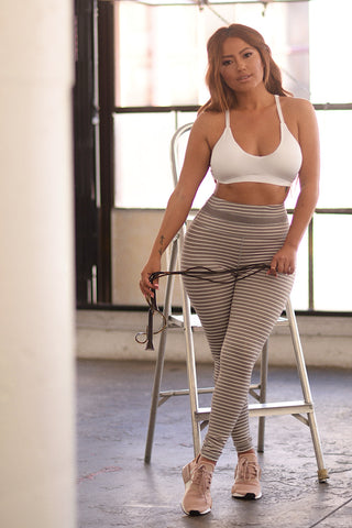 Super Highwaist Stripe Leggings - Mauve/Ivory Stripe
