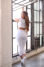 Highwaist Side-Mesh Capri Leggings - White