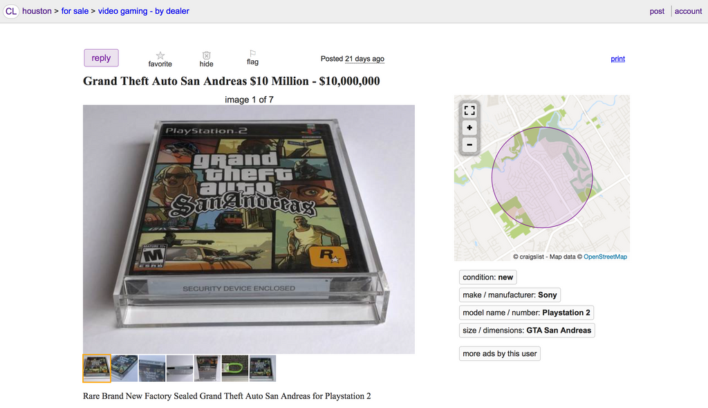 Rare Grand Theft Auto San Andreas PS2 Y-fold with Security Device Enclosed $10,000,000 Ten Million Dollars Rare Grand Theft Auto San Andreas PS2 Y-fold with Security Device Enclosed $10,000,000 Ten Million Dollars  Rare Grand Theft Auto San Andreas PS2 Y-fold with Security Device Enclosed $10,000,000 Ten Million Dollars Rare Grand Theft Auto San Andreas PS2 Y-fold with Security Device Enclosed $10,000,000 Ten Million Dollars