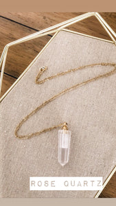 Aromatherapy Necklace - Brass-Plated Chain with Rose Quartz Vial