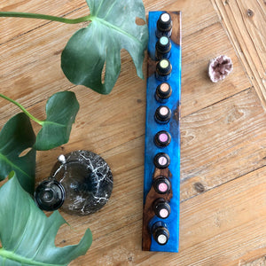 Resin & Timber Essential Oil Stand - Deep Blue