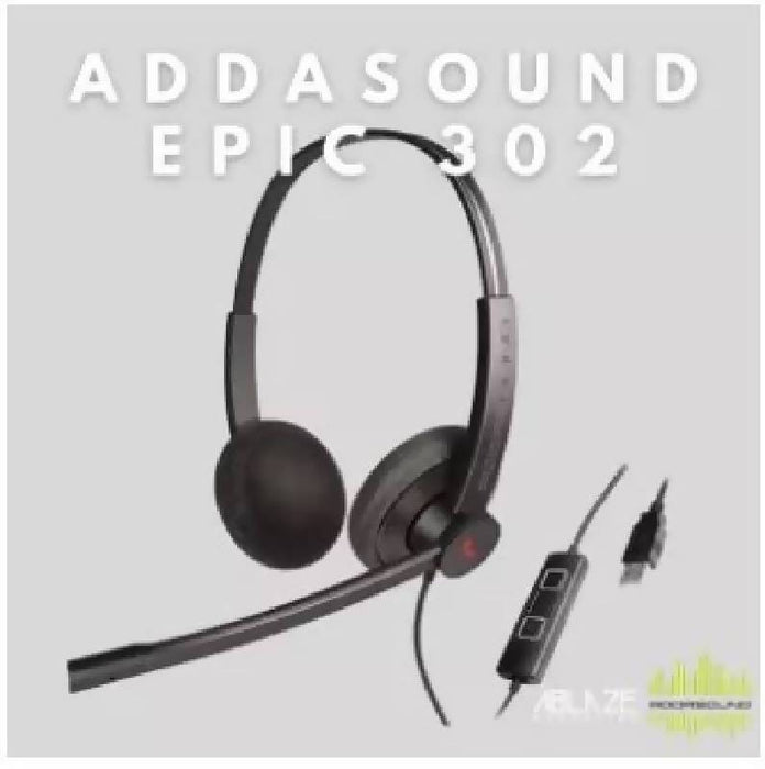 ADDASOUND EPIC 302 USB Wired Duo Headset with Mic