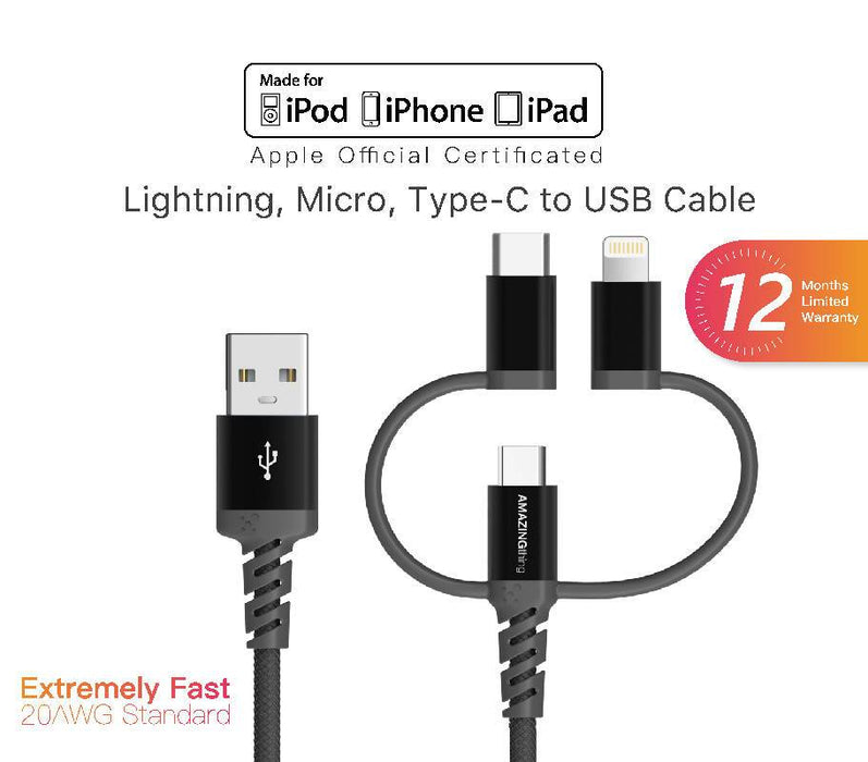 Amazingthing SupremeLink 1M 3 IN 1 Micro USB, Lightning & Type C Cable MFI / QC 3.0 - Black