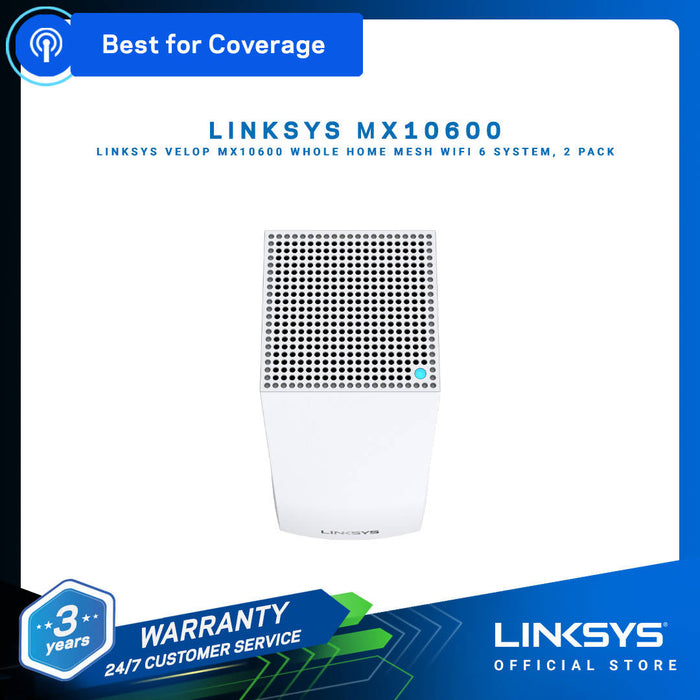 LINKSYS WiFi 6 Bundle MX10600 Velop WiFi 6 System + Belkin Pocket Power 10K & BOOSTUP Car Charger