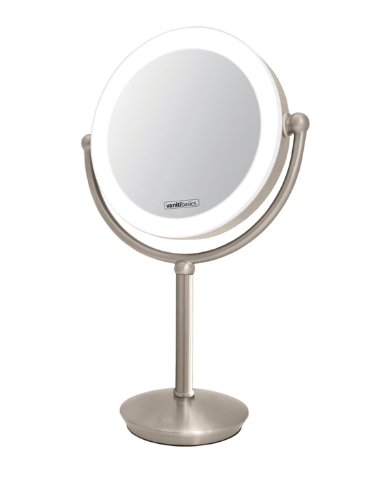 Vanitibasics 8.5'' Double-Sided Super Bright LED Mirror with Satin Nickel Finish (ED22DT5)