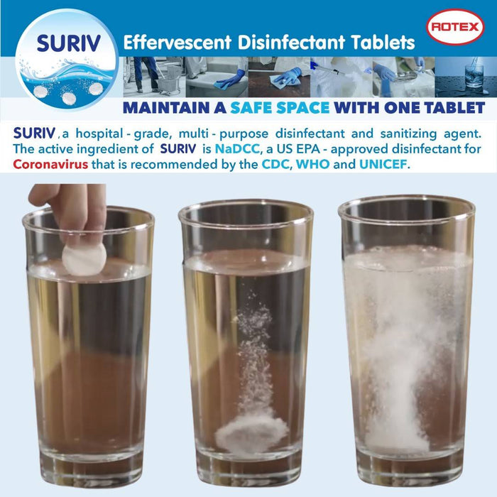 "Suriv Effervescent Disinfectant Tablets (NadCC) ""Canister of 40s"""