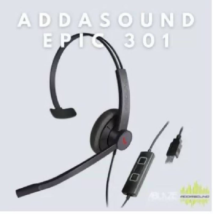 ADDASOUND EPIC 301 USB Wired Mono Headset with Mic