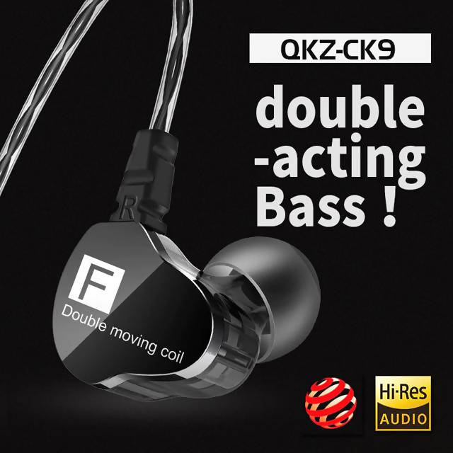 QKZ CK9 3.5mm In-Ear Dual Moving Coil Earbuds HiFi Earphone