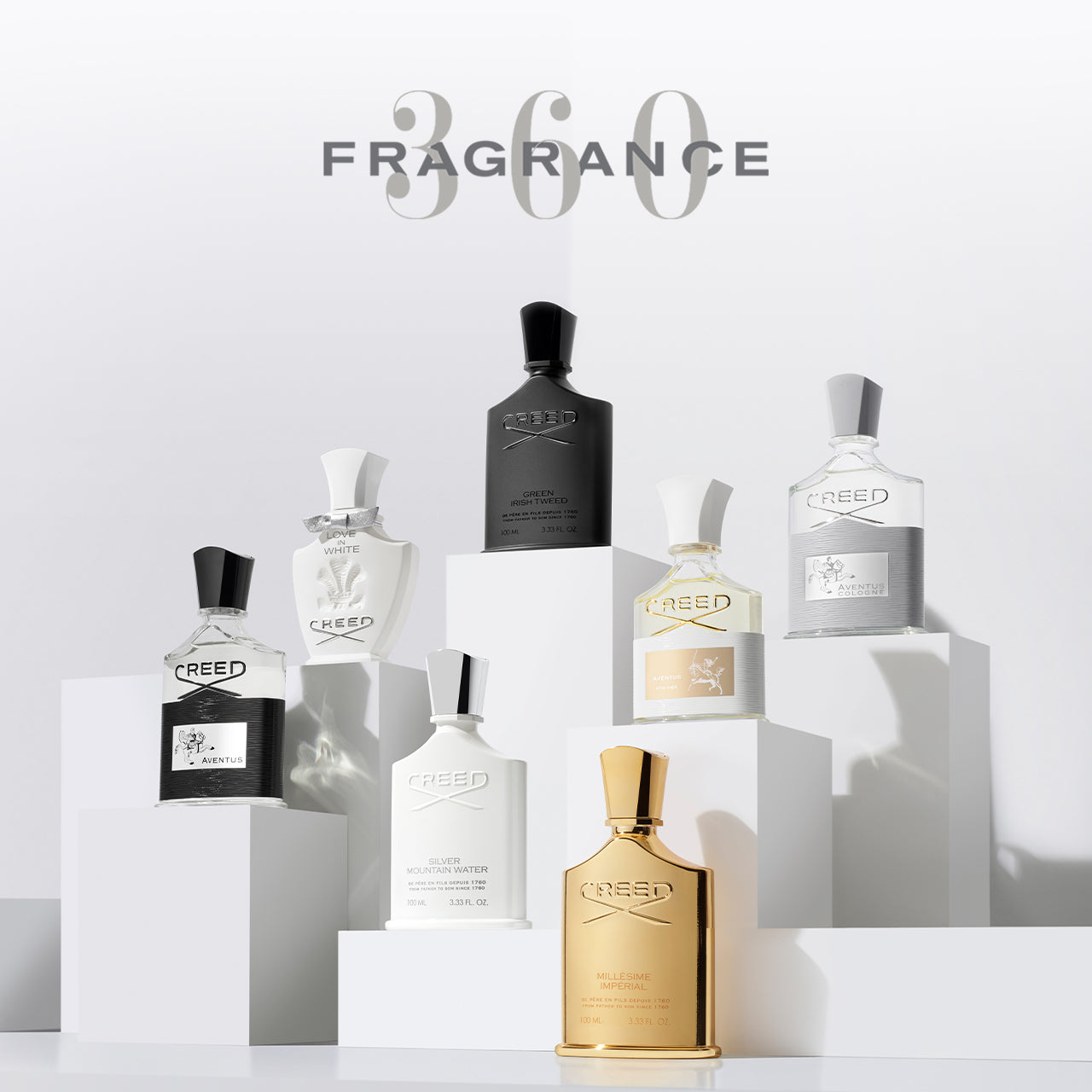 From left to right, bottles of Aventus, Love In White, Silver Mountain Water, Green Irish tweed, Millésime Impérial, Aventus For Her, and Aventus Cologne on plexiglass platforms