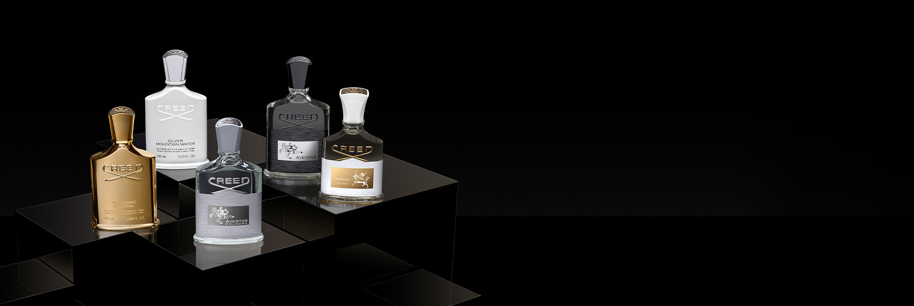 5 fragrance bottle. From Left to Right, Millésime Impérial, SIlver Mountain Water, Aventus, and Aventus For Her