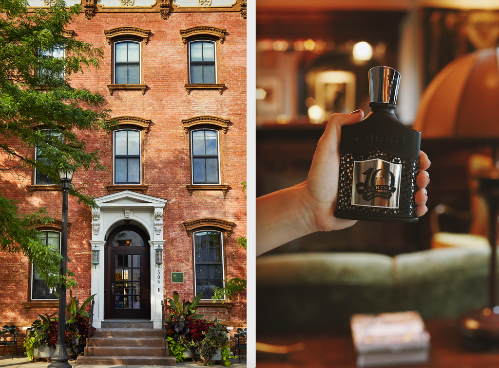 exterior of the maker hotel and a bottle of aventus