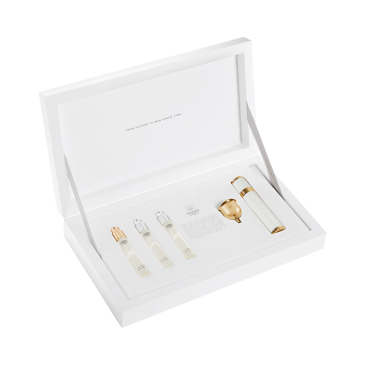 White and Gold Travel Atomizer Coffret for Her