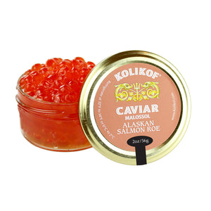 Glass jar of salmon ikura (red caviar) at Kolikof.com