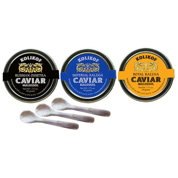 Russian Osetra, Imperial Kaluga and Royal Kaluga caviar sampler by Kolikof
