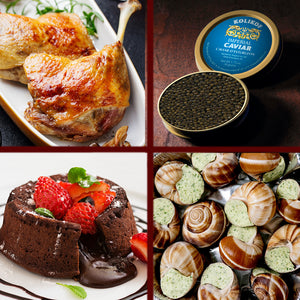 Easy dinner for 2: Duck confit, escargot, caviar and lava cake.