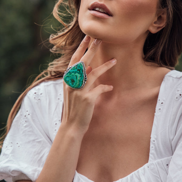 Thalassa Azurite Malachite Chrysocolla Ring | US 8 (UK Q)