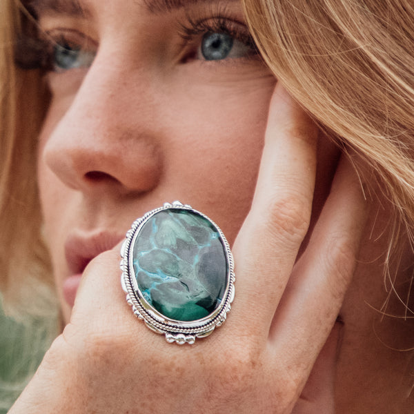 Aisha Azurite Malachite Ring | US 6.5 (UK N)